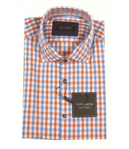 Benjamin Sport Shirt: White, Orange & Blue Check