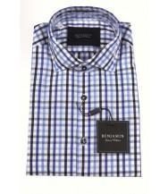 Benjamin Sport Shirt: Blue & Black Check