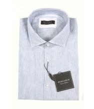 Benjamin Sport Shirt: White & Blue Stripe