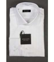 Benjamin Dress Shirt: White Tonal Stripe