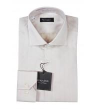 Benjamin Dress Shirt: Beige Herringbone