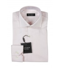 Benjamin Dress Shirt: Pink & White Dobby