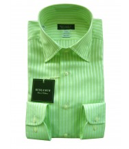 Benjamin Dress Shirt: Green & White Stripes