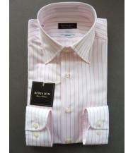 Benjamin Dress Shirt: White & Pink Stripes