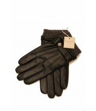Dents: Black Lined Hairsheep Gloves with Strap and Roller