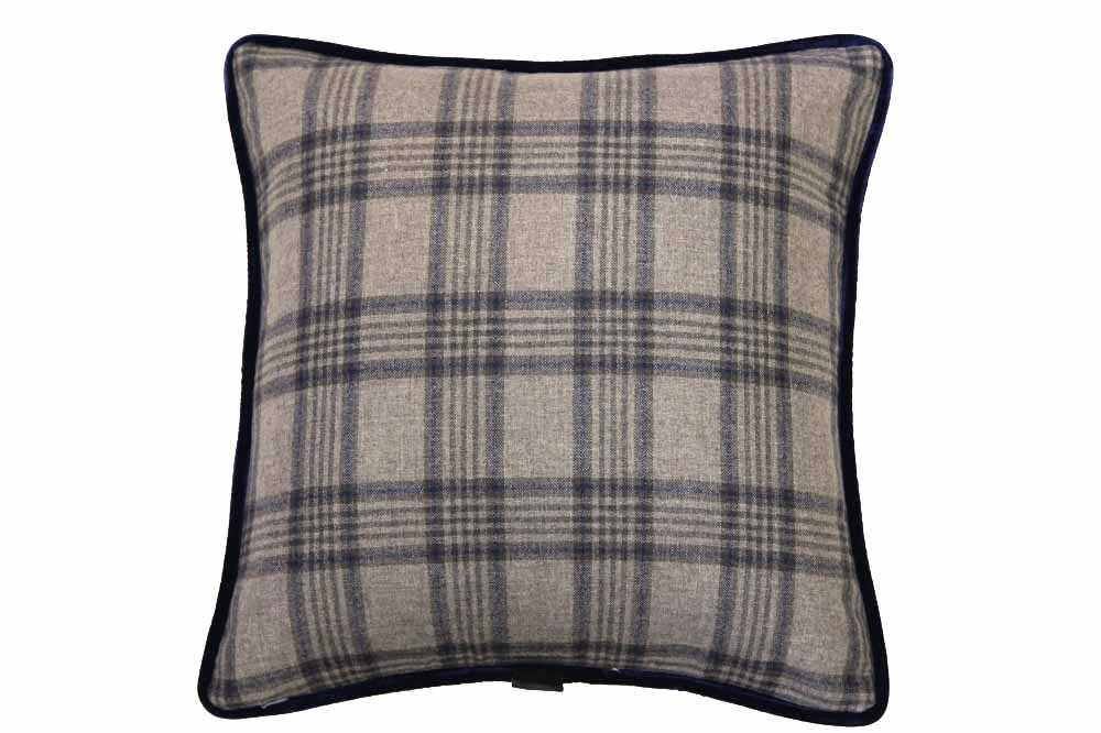 Beige with Navy Overplaid