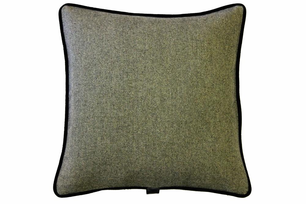 Moss Herringbone / Brown Velvet