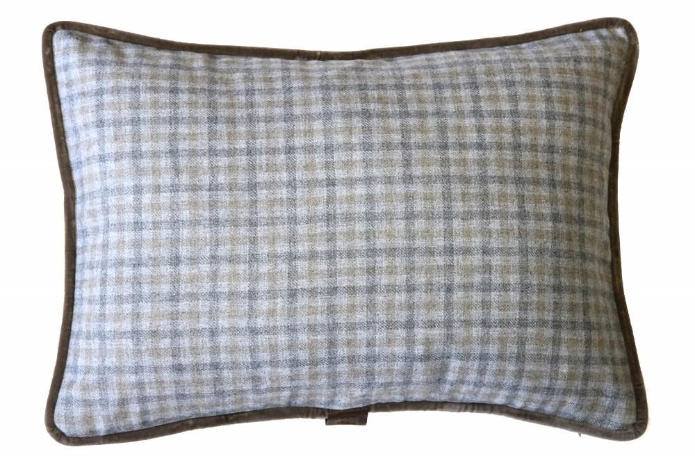 Beige & Grey Check / Beige Velvet