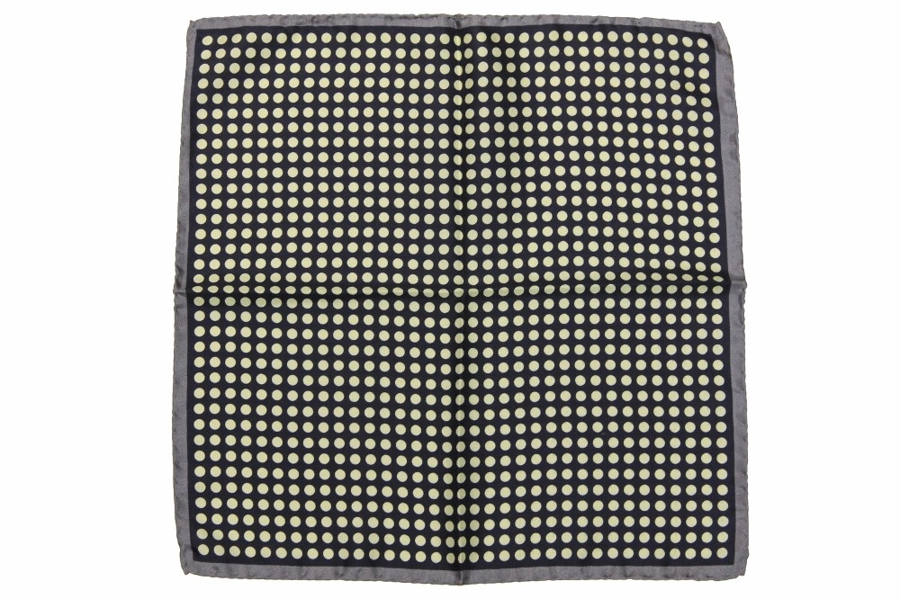 pure silk Battisti Pocket Square SALE Grey with cream dot on navy