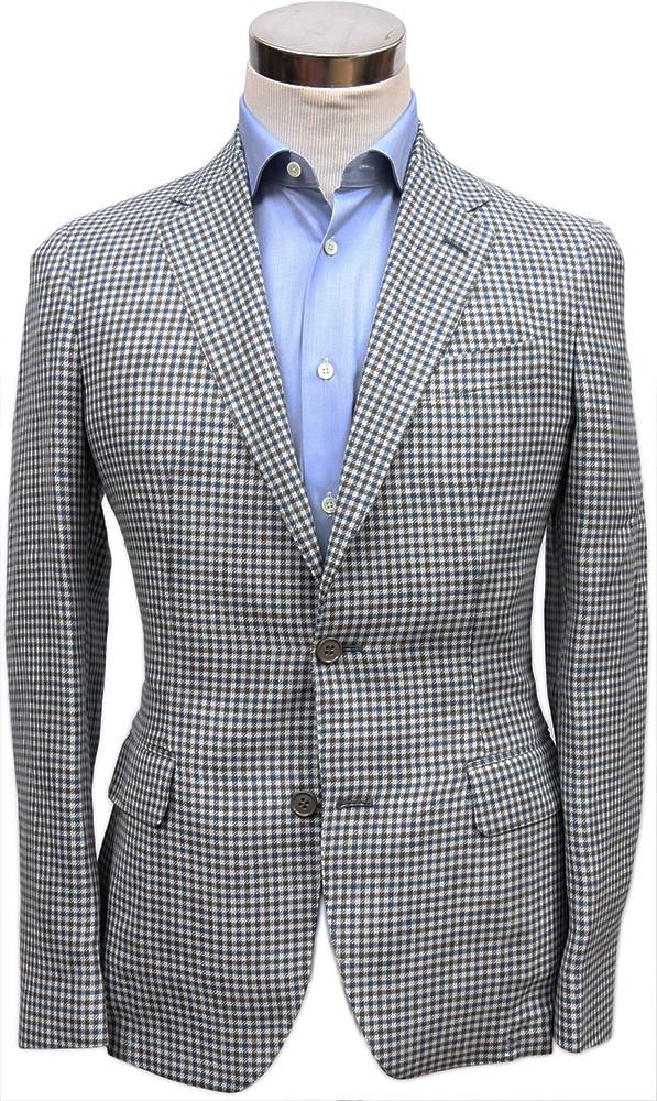 Bella Spalla Sport Coat: Blue with Grey Check