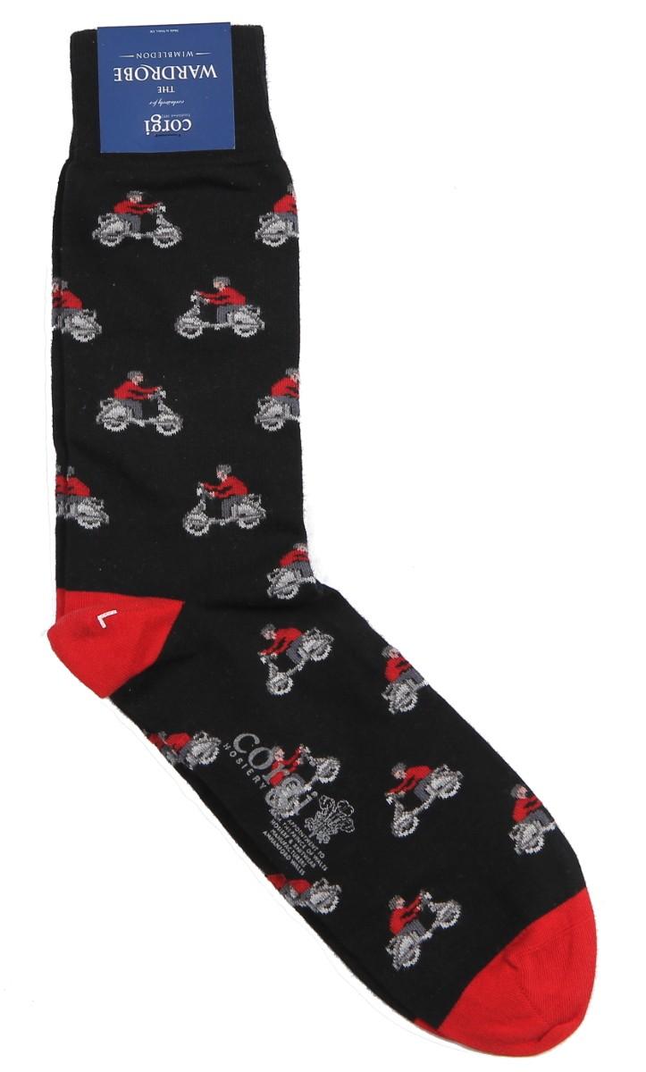 Corgi Sock: Large Black Vespa