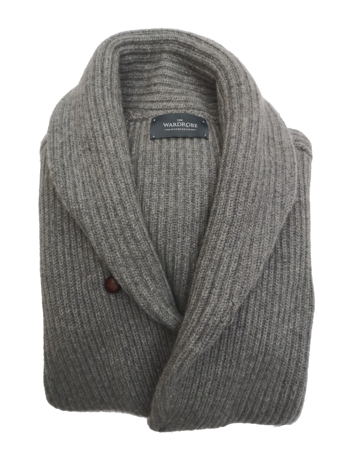 The Wardrobe Sweater Mid Grey Shawl Collar