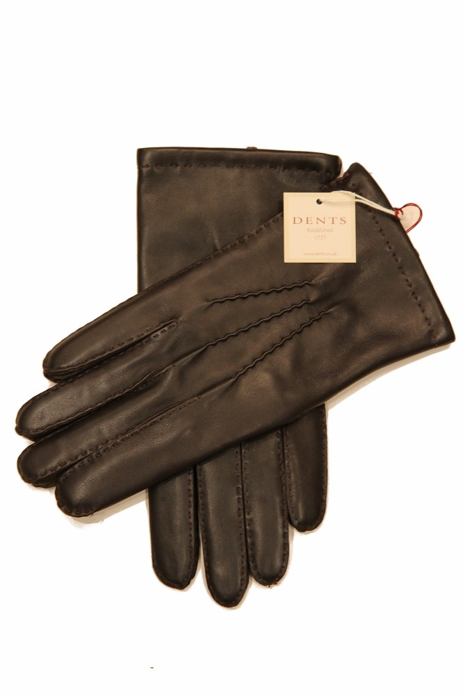 Dents: Brown Handsewn Cashmere Lined Hairsheep Leather Gloves