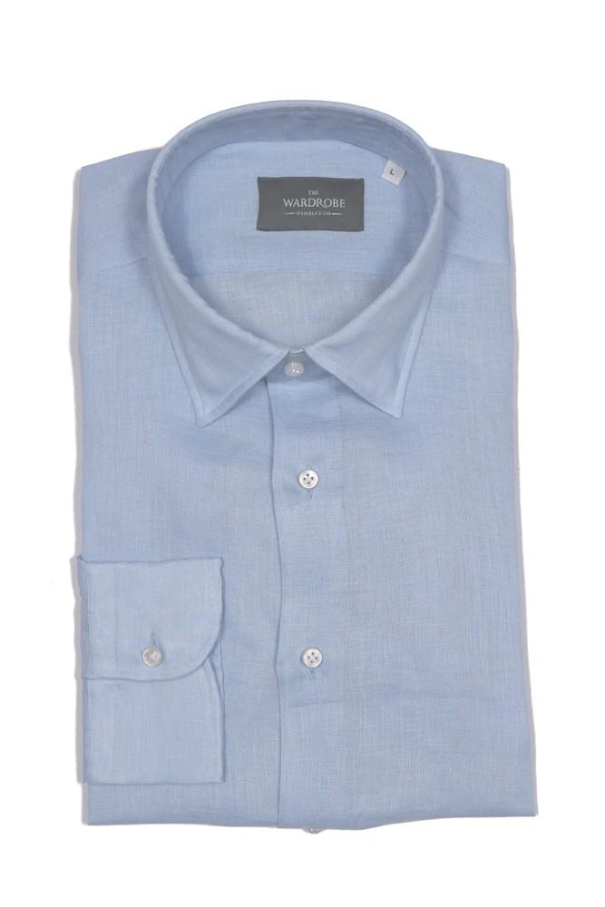 The Wardrobe Casual Shirt: Sky Blue Linen