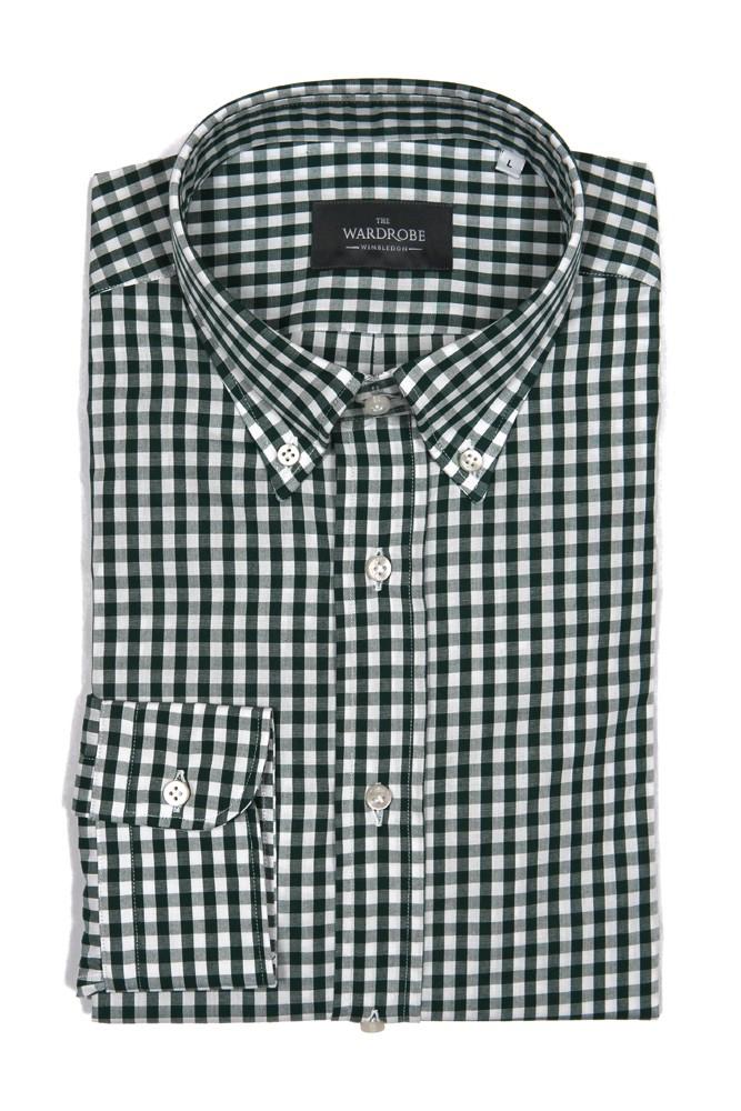 The Wardrobe Casual Shirt: Green Gingham