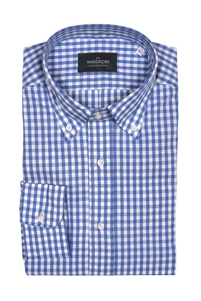 The Wardrobe Casual Shirt: Blue Gingham
