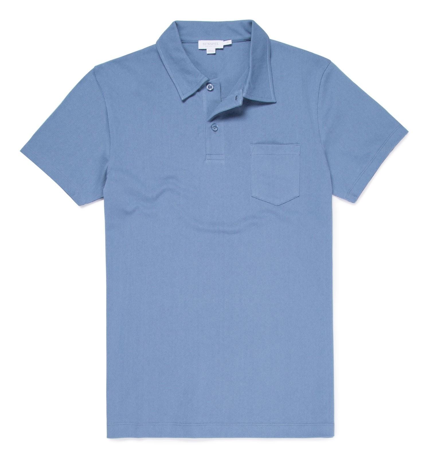 Sunspel Riviera Polo Shirt: Airforce Blue