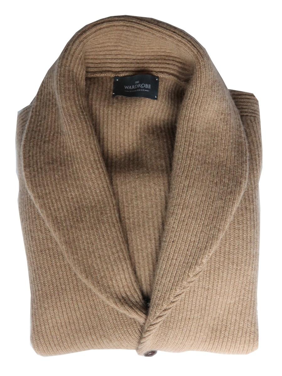 The Wardrobe Sweater Tan Shawl Collar