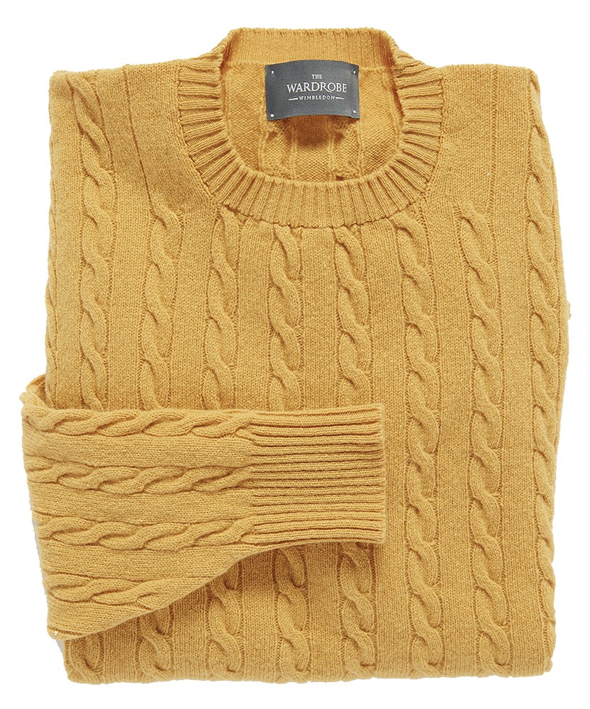 The Wardrobe Sweater: Mustard Yellow Cable Knit