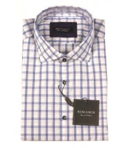 Benjamin Sport Shirt: Blue Windowpane