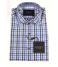 Benjamin Sport Shirt: Blue & Black Check