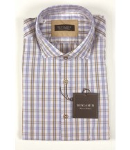 Benjamin Sport Shirt: Blue & Tan Plaid