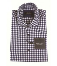 Benjamin Sport Shirt: White & Navy Check