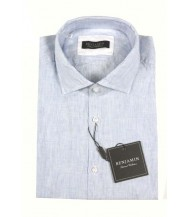 Benjamin Sport Shirt: White & Blue Stripe