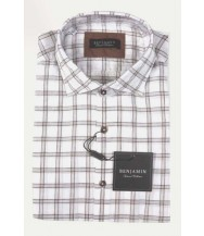 Benjamin Sport Shirt: White & Brown Plaid