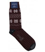 Corgi Sock: Large Burgundy Snowflakes