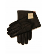 Dents: Black Handsewn Cashmere Lined Hairsheep Leather Gloves