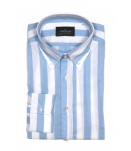 The Wardrobe Casual Shirt: White and Blue Wide Stripe
