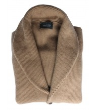 The Wardrobe Sweater Tan Shawl Collar