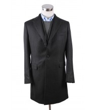 The Wardrobe Coat Charcoal Wool Twill