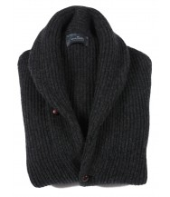 The Wardrobe Sweater Charcoal Shawl Collar